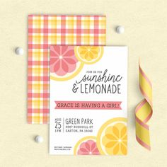 Pink Lemonade Shower Invitation, Lemonade Birthday Invitation, Lemonade Stand Invitation