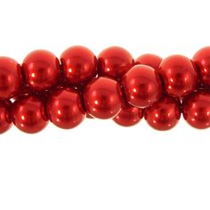 10mm Glass Pearl Round Bead Strand, Cranberry
