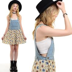 Vtg 90s Grunge DENIM Boho BIB OVERALLS Suspenders Romper Shorts Mini Dress S M