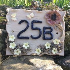 Another poppy house number plaque completed. House Name Plaques, House Number Plaque, House Names, Door Plaques, Red Poppies, Yellow Flowers, Door Numbers, Clay Houses, Red Butterfly