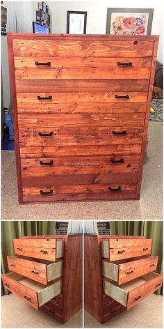 Those who want too much space for storage can go for this upcycled wood pallet chest of drawers idea as there are multiple drawers in it to store the items to avoid placing them anywhere as it makes the room look bad. So, it helps in avoiding the mess.