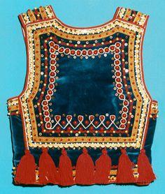 gorset krakowski | gorset niebieski dziecięcy z tyłu Polish Clothing, Folk Clothing, Clothing And Textile, Polish Embroidery, Folk Embroidery, Tribal Outfit, Tribal Dress, African Fashion, Kids Fashion
