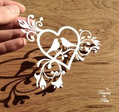 all Commercial Templates!! COMMERCIAL USE Love Birds Heart Design - Papercutting…