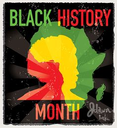 Colorful and textured Black History Month poster design February 2015 by JDawnInk