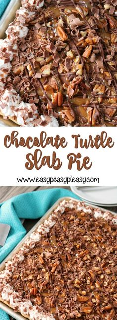 The most decadent Chocolate Turtle Slab Pie recipe that's super easy and will feed a crowd! Perfect for holidays and potlucks! Easy Pie Recipes, Potluck Recipes, Fudge Recipes, Dessert Recipes, Cooking Recipes, Dessert Ideas, Pudding Desserts, Cheesecake Desserts, Batch Cooking