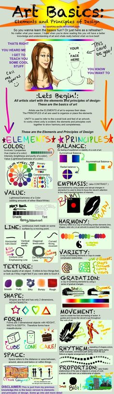 Art Basics: Elements and Principles of Design by TheCuddlyKoalaWhale Elements And Principles, Elements Of Art, Design Elements, Middle School Art, Art School, Classe D'art, Art Handouts, Art Basics, Art Worksheets