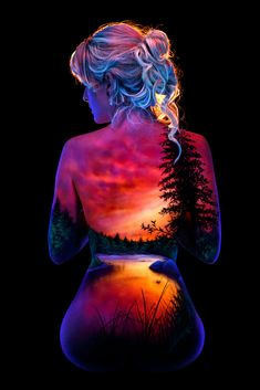River sunset by john poppleton on back drawing, face art, female Illusion Kunst, Illusion Art, Female Body Paintings, Female Art, Body Painting Art, Body Painting Pictures, Photographie Art Corps, Body Art Photography, Sunset Art