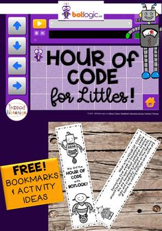Hour of Code ideas for kindergarten and first grade students.  Grab your free bookmarks and activity ideas!  #thetrappedlibrarian #hourofcode