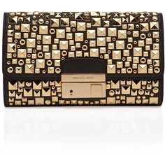 Michael Kors Gia Studded Clutch (£545) ❤ liked on Polyvore featuring bags, handbags, clutches, purses, bolsas, black, black leather clutches, michael kors purses, genuine leather handbags and black leather purse