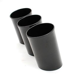 Black plastic trash-cans 3x design Enzo Mari 1971 executed by Danese Milan / Italy