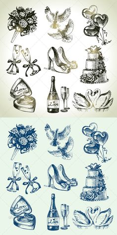Hand Drawn Vintage Wedding Set  #GraphicRiver         Set of hand drawn vintage wedding icons: wineglass, champagne, swans, box with rings, balloons, pigeons, bouquet, wedding cake, bridal shoes.   This illustrations can be used in design of printed materials (brochures, invitations, postcards), in web design, etc. No bitmaps, only vector used.   Zip file contains fully editable EPS 8 vector file, AI CS vector file and high resolution pixels RGB Jpeg image.     Created: 29May13…
