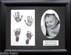 Baby Handprint Footprint Kit Silver Display Frame Black Prints by BabyRice Baby Handprint Kit, Baby Equipment, Baby Hands, Frame Display, Baby Sale, Baby Crafts, Scrapbooking, Solid Oak, White Box