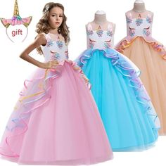 Christmas Send a Gift High-grade birthday evening party child wedding dress girls Embroidered applique unicorn long dress Wedding Dresses For Kids, Gowns For Girls, Girls Party Dress, Little Girl Dresses, Girls Dresses, Elegant Girl, Princess Girl, Unicorn Princess, Plus Size Wedding