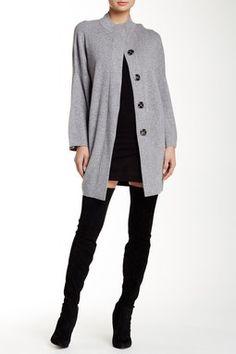 Wool Blend Petrol Sweater Coat