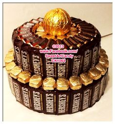 Chocolate Hershey's & Dove Candy Bar Cake www. Ultimate Chocolate Cake, Chocolate Pack, Chocolate Gold, Hershey Chocolate, Chocolate Bouquet, Chocolate Gifts, Cake Chocolate, Candy Boquets, Candy Bar Bouquet