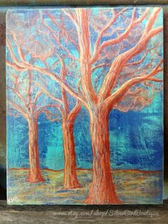 Tree Art Canvas, Bright Drawing, Tree Artwork, Home Wall Art, Bright Orange Blue, Original, Home Decor, Mixed Media Nature Art by SilverBirdBoutique
