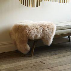 MODERN BENCH WITH sheepskin rug - Google Search