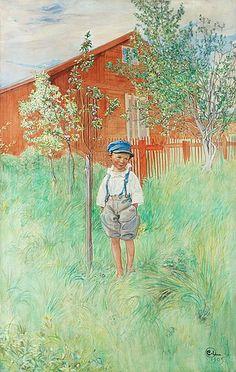 """CARL LARSSON, 1905,  """"Esbjörn vid sitt ägandes äppelträd / Esbjörn, unghink""""."""