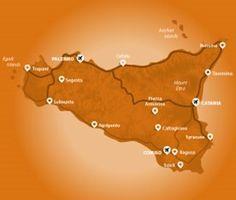 Regional map of the Scicli Albergo Diffuso