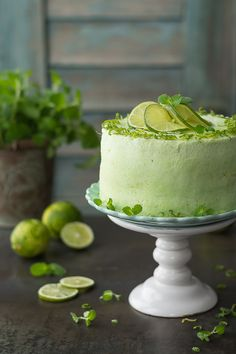Lime Desserts, Delicious Desserts, Yummy Food, Beautiful Cakes, Amazing Cakes, Cake Decorating Designs, Lime Cake, Mojito Recipe, Food Decoration