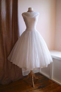 50s Wedding Dress // Vintage Reserved//1950s Chiffon Tea Length Dress with Full Skirt via Etsy