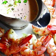 Roasted Shrimp Cocktail Louis from Barefoot Contessa. Dry the shrimp well with paper towels. Shrimp Appetizers, Appetizer Dips, Shrimp Recipes, Fish Recipes, Appetizer Recipes, Cocktail Party Appetizers, Appetizer Sandwiches, Barefoot Contessa, Food Network Recipes