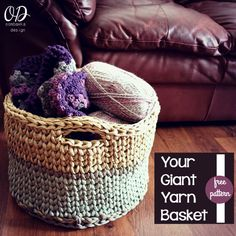 Your Giant Yarn Basket  Free Crochet Pattern via @OombawkaDesign