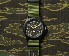 Carhartt WIP releases military-inspired field watch with Timex. A rugged style in a timeless silhouette. Rugged Watches, Cool Watches, Military Inspired Fashion, Field Watches, Todd Snyder, Timex Watches, Rugged Style, Carhartt Wip, Omega Watch