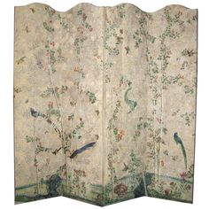 18th Century Chinese Handpainted Wallpaper On Four Panel Screen | From a unique collection of antique and modern screens at http://www.1stdibs.com/furniture/more-furniture-collectibles/screens/