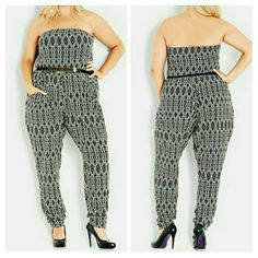 """'Mono Graphic' Print Strapless Jumpsuit 18W Size 18W  Details:  A black-and-white print brings chic sophistication to a strapless jumpsuit in an easy yet stylish cut with breezy legs that taper to ruched ankles. A removable belt adds waist-whittling polish. - 34"""" inseam; 14"""" leg opening - Pull-on style - Partially lined - 97% polyester, 3% elastane - Machine wash cold, line dry  Additional Info:If between sizes, order one size down. XS=14W, S=16W, M=18W, L=20-22W, XL=22W-24W City Chic Pants…"""