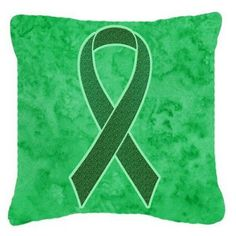 Carolines Treasures Kelly Green Ribbon for Kidney Cancer Awareness Decorative Outdoor Pillow - AN1220PW1414