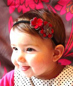 Pink and Grey Baby Headband. Stitch the middle of flower together with metallic thread and it looks like metal center.