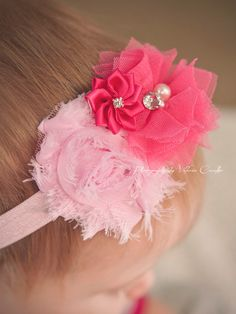 $5.99 Pretty Pink Valentine's Trio - Shabby Chic and Satin Headband - Newborn or Baby Girl Valentine's Day Hair Bow - Hot and Light Pink