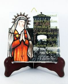 Catholic #icon on ceramic tile dedicated to St Edith Stein - now available on #Etsy Perfect for your prayer corner.  Ready to hang.  Now available on #Etsy https://www.etsy.com/listing/226168925/catholic-saints-saint-edith-stein