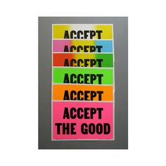 Accept The Good Handprinted Letter Press Poster ($35) ❤ liked on Polyvore featuring home, home decor, wall art, wood home decor, wood wall art, wooden wall art and wooden home decor