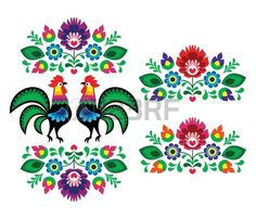 Polaco bordado floral étnico con gallos - patrón popular tradicional Foto de archivo