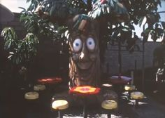 Still shot of the Apple Pie Tree on the set of the original Chula Vista, California Playland, made available through the release of the 16mm 1972 McDonaldland Industrial Video first announced with the release of the 1972 Setmakers Promo Packet.