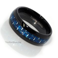 Black and Blue Tungsten Carbide Ring with Blue Fiber Inlay 6MM