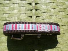 Bright polka dot and stripes dog leash with custom made matching collar at Green Paw Products!
