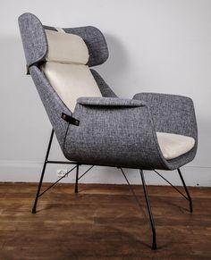 Augusto Bozzi; Enameled Metal Lounge Chairs for Saporiti,c1957.