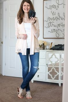 Dear stitch fix stylist, I love the loose for of this cardigan and it's neutral color. The lace detail is a nice touch