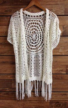 Kimono Boho tricot-crochet artesanato tendência