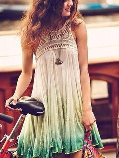 dress green ombré boho high neck brunette hippie hippy gypsy necklace silver bohemian bohemian dress