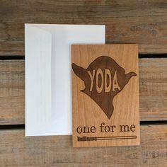 I Love You Card Wood CardReal Wood Card-Yoda by MineByDesignStudio