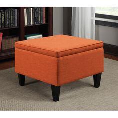 Portfolio Engle Orange Linen Table Storage Ottoman - Overstock™ Shopping - Great Deals on PORTFOLIO Ottomans