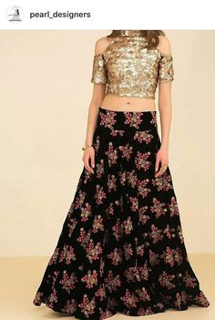 ghagra choli modern ~ ghagra choli + ghagra choli modern + ghagra choli simple + ghagra choli manish malhotra + ghagra choli wedding + ghagra choli modern designer + ghagra choli for kids + ghagra choli traditional Ghagra Choli, Lehenga Blouse, Sharara, Indian Dresses, Indian Outfits, Indian Clothes, Crop Top Designs, Golden Blouse Designs, Indian Lehenga