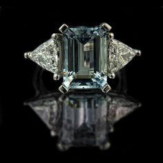 Emerald Cut Aquamarine Engagement Ring with Trilliant Cut Diamonds by rmrayner,