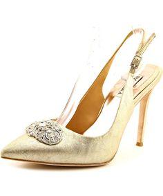 BADGLEY MISCHKA BADGLEY MISCHKA SANSA WOMEN  POINTED TOE SUEDE GOLD HEELS'. #badgleymischka #shoes #pumps & high heels