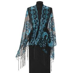 Sequined Peacock Scarf - New Age, Spiritual Gifts, Yoga, Wicca, Gothic, Reiki, Celtic, Crystal, Tarot at Pyramid Collection