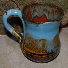 Colorful Havana Blue and Amber Rust Ceramic Mug - Handmade- Mug - Cup